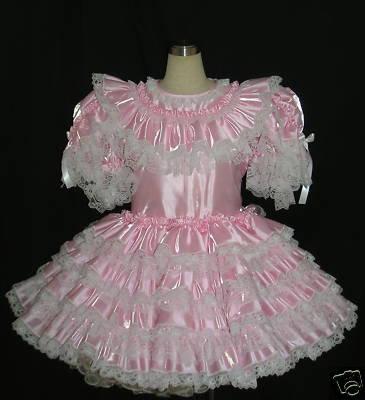 #B41 ADULT SISSY TAFFETA PINK DRESS
