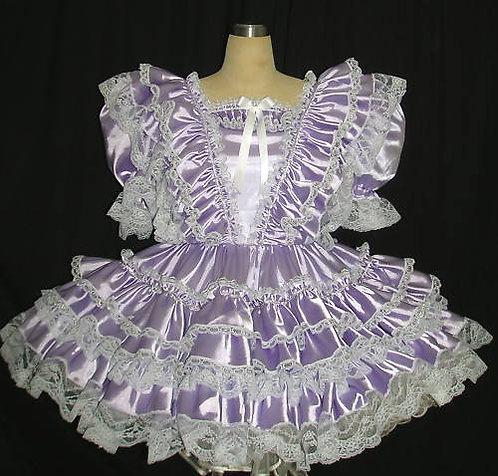 #B36 ADULT SATIN VICT RUFFLES DRESS