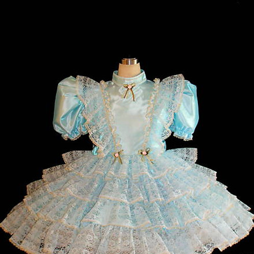 #C02 ADULT SISSY BABY BLUE PARTY DRESS