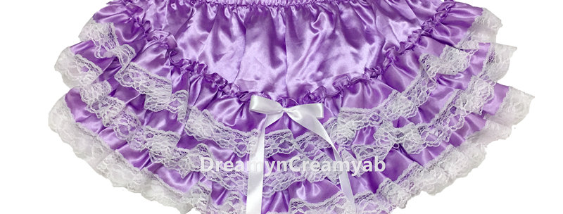 ADULT BABY Shimmering Satin Panties with BB plastic lined