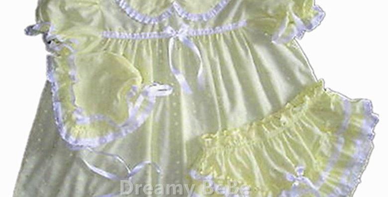 Adult Sissy Baby Yelloe Eyelet 3pcs Dress Set