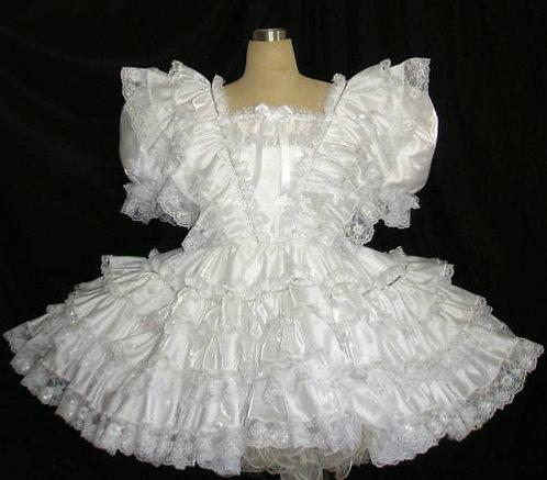 #B26 ADULT SISSY SATIN RUFFLES DRESS
