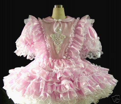 #C14 ADULT SISSY TAFFETA RUFFLES VICTORIAN DRESS