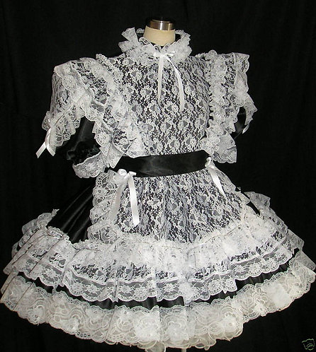#08 ADULT SISSY LACY FRENCH MAIDS DRESS