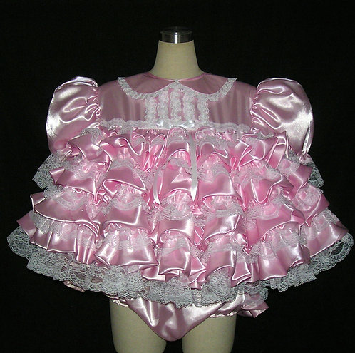 #D04 ~ ADULT SISSY SATIN PRISSY BABY DRESS SET