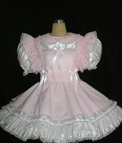 #B21 ADULT SISSY PINK EYELET GIRL DRESS