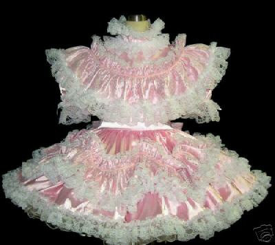 #C46 ADULT SISSY FRILLY RUFFLY LACE DRESS