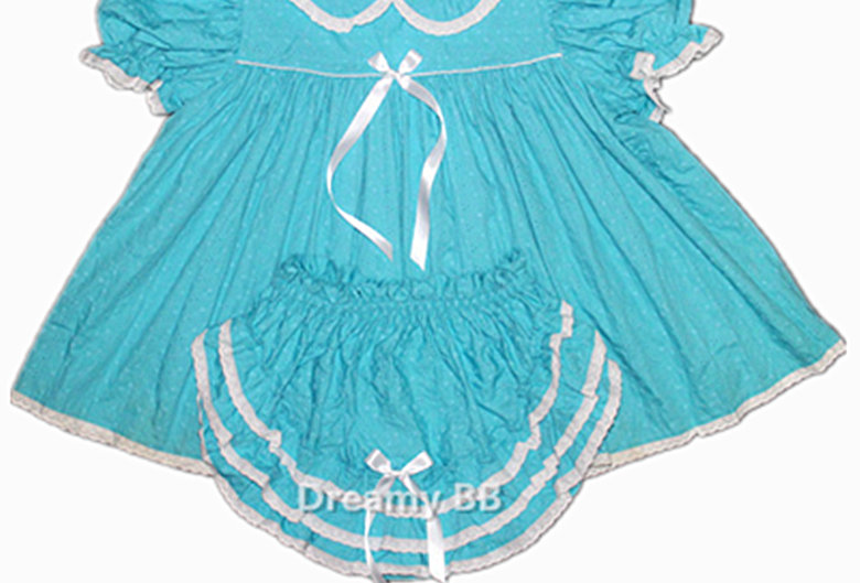 Adult Sissy Baby Sky Blue Eyelet Dress Set