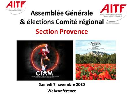 Assemblée Générale confinée mais Présidente confirmée pour l'AITF Section Provence