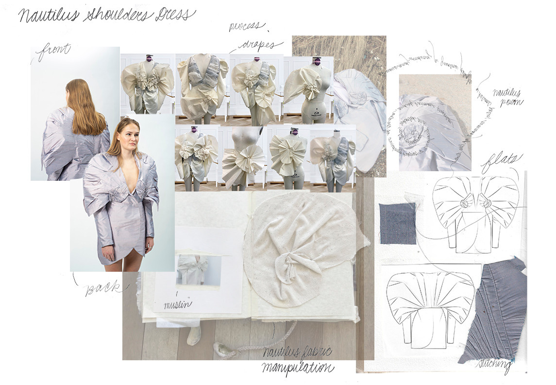 Nautilus Shell Shoulder Dress Portfolio Page