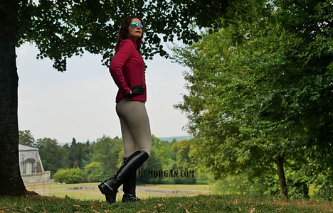 A thinkin man's equestrian Mistress K8 Morgan in the countryside