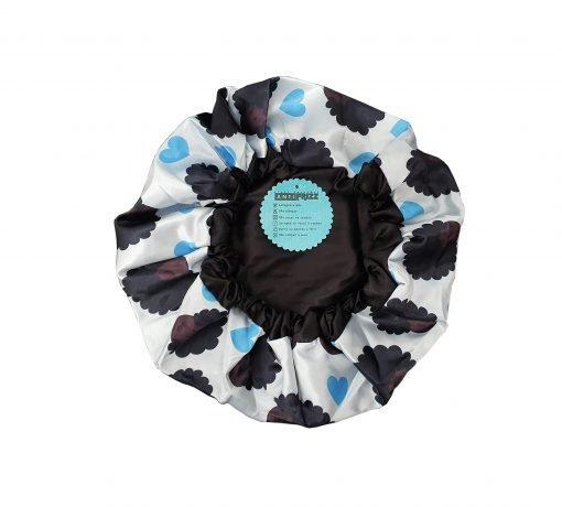 Touca Anti Frizz de Cetim – Camada Dupla Azul – Azul Afro com Elástico Regulador