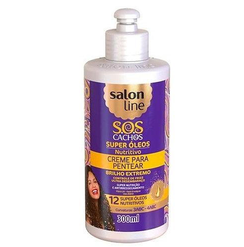 CREME PARA PENTEAR SALON LINE S.O.S CACHOS SUPER OLEOS 300 ML BRILHO EXTREMO