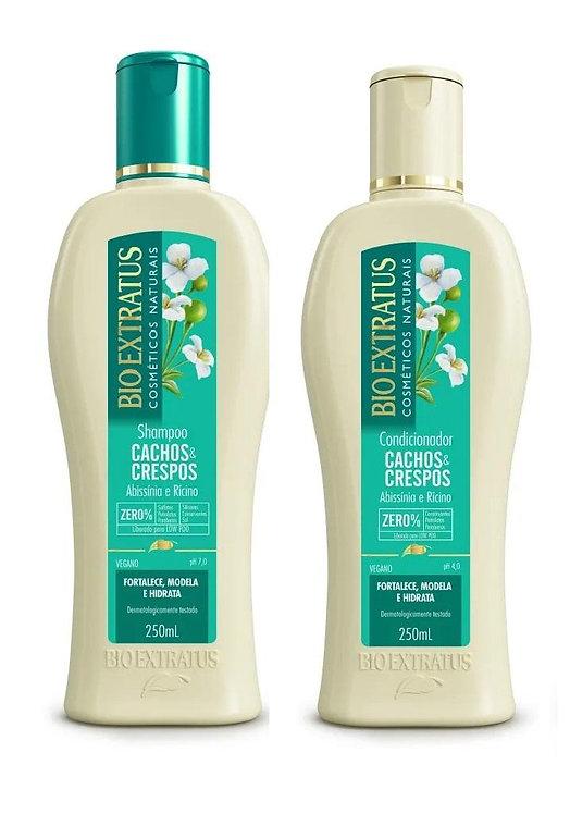 Shampoo e Condicionador 250ml Cachos Crespos Bio Extratus
