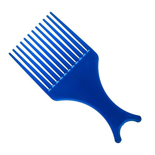 Pente Garfo Black Power Para Cabelo Afro e Cacheado Azul