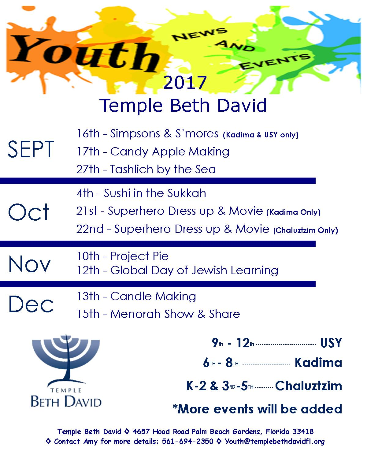 Youth Events Flyer 2017 - updated        10.25.2017