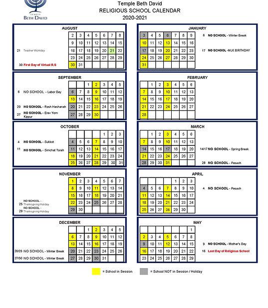 Religious School Calendar 20.21 updated