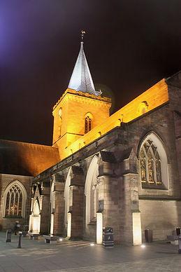 012 Floodlit choir, tower and spire St.