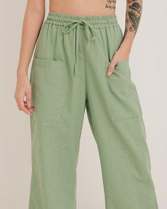 Calça Bolso Verde Lavanda