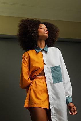 Camisa Oversize Bicolor Laranja