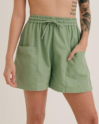 Short Bolso Verde Lavanda