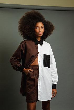Camisa Oversize Bicolor Marrom