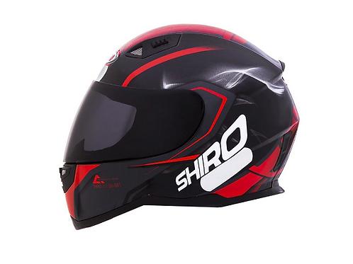 Capacete Shiro City SH-881 Motegi Preto e Vermelho