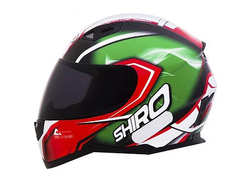 Capacete Shiro City SH-881 Motegi Verde e Vermelho