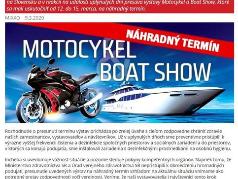 Výstava Motocykel 2020 sa ruší a presúva sa na nahradný termín