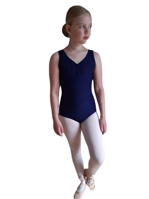 NAVY - NATD Grades 2/3/4 Sleeveless Ruched Front Lined leotard
