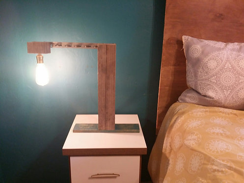Industrial Reclaimed Wood Table Lamp