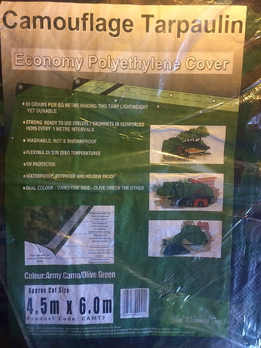 Tarpaulin Camouflage Bivouac  army Tarpaulin 4.5m x 6.0m lightweight and durable