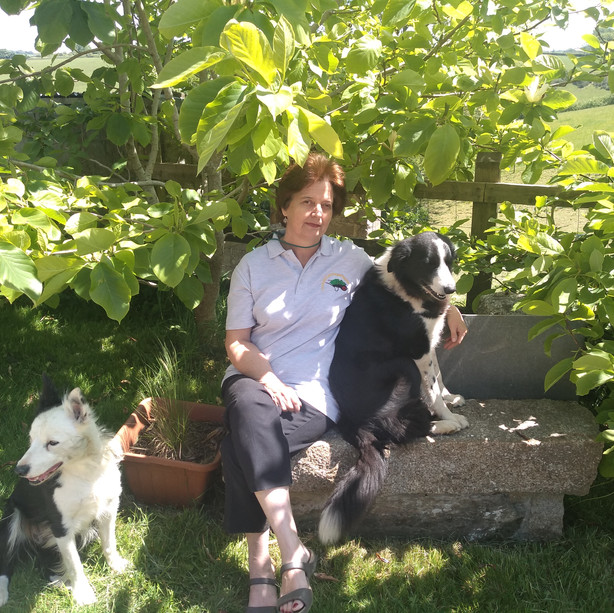 Helen enjoying the hottest day of the year so far May 2020 with Tess and Roo