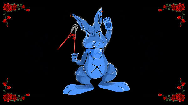 Blue rabbit with bolt cutter in hand