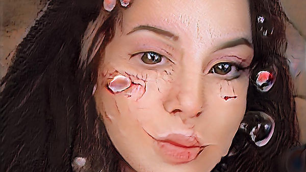 Digitally manipulated photograph of face