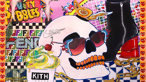 painting of skull in sunglasses surrounded by objects