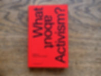 "Photograph of ""What About Activism?"" book red cover"