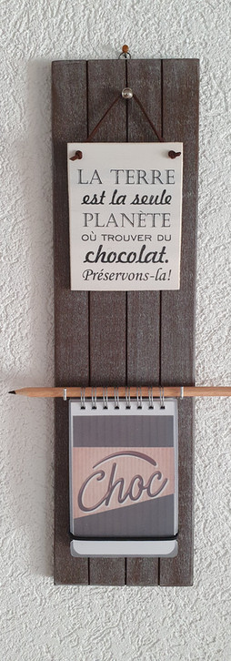 Support à bloc-notes. Chocolat, Tons bruns Dim. 40 cm/ht x 10 cm