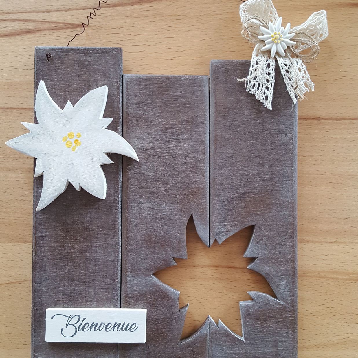 Edelweiss, tons bruns,  env. 20 x 25 cm