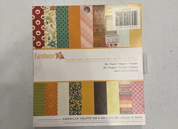 American Crafts 6 x 6 Patterned Paper Farmhouse