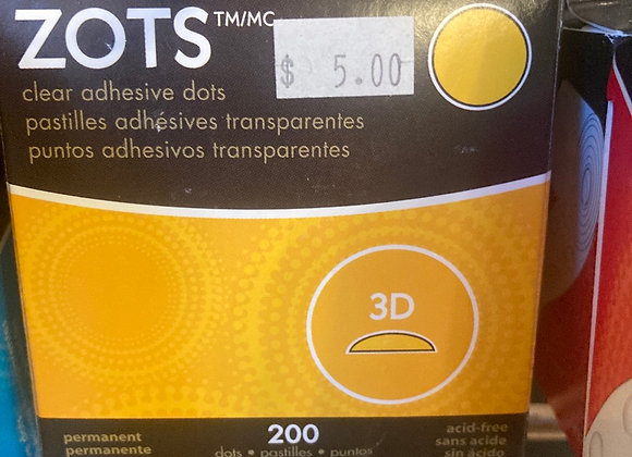 Zots Clear Adhesive Dots 3D 1/2 X 1/8? Thick 200/Pkg