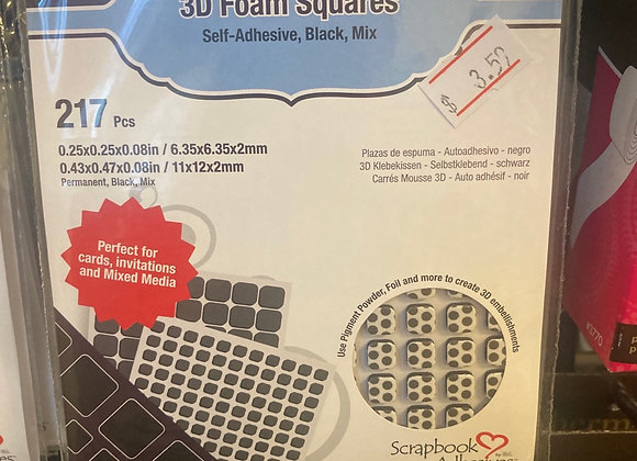 Scrapbook Adhesives 3D Foam Squares Black Small