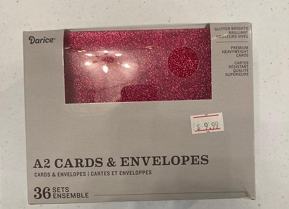 Darice A2 Cards & Envelopes Glitter Brights Set