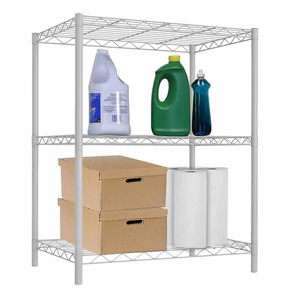 white metal shelving