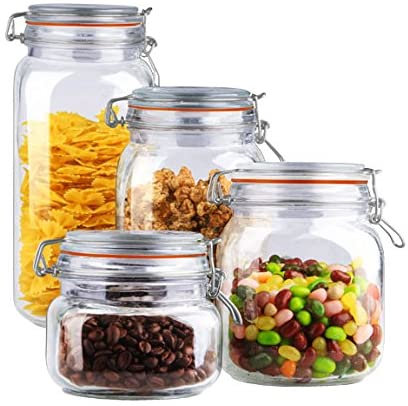 4 Pc Glass Canister Set