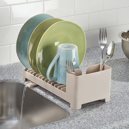 Clarity Compact Dish Drainer With Swivel Spout - Taupe