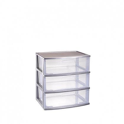 Storage unit Nilo 3 drawers SILVER