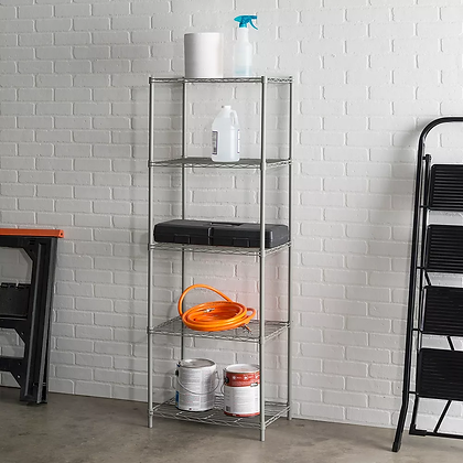 grey metal shelving