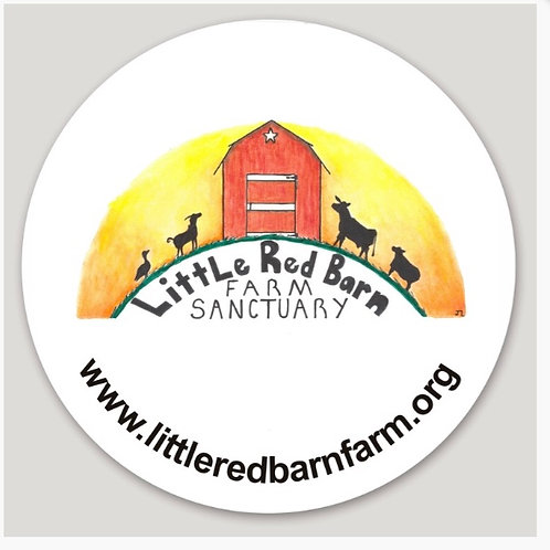 Round Little Red Barn Farm Sticker