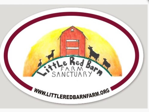 Large Oval Little Red Barn Farm Sticker